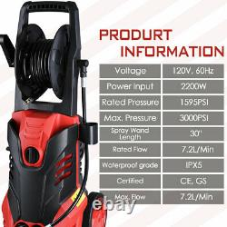 3000PSI 1.9GPM Electric Pressure Washer 2200W High Power Cleaner Water Sprayer