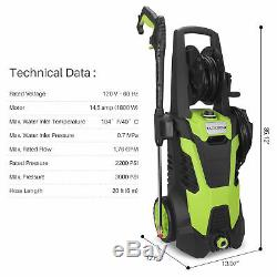 3000 PSI Electric Pressure Washer with Hose Reel & Detergent Tank 5 Nozzle Adapter