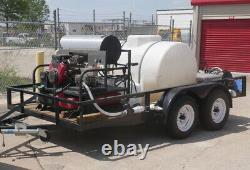 3500 PSI 5.5 GPM 16 HP Vanguard Hot Water Pressure Washer Trailer Rig