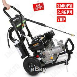 3600PSI 7HP 2.8GPM Gas / Electric Pressure Washer Auto Cold Water Cleaner Kit