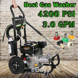 4200PSI 3.0GPM Gas Pressure Washer High Power Water Cleaner Machine 5Nozzles 7HP