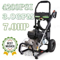 4200 PSI 3.0GPM Gas Powered Cold Water High Pressure Washer 212CC Machine 7HP