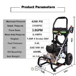 4200 PSI 3.0GPM Gas Powered Cold Water High Pressure Washer 212CC Machine Garden