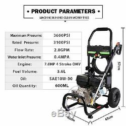 8HP 3950 PSI Gas Powered Pressure Washer Cold Water Cleaner 3 GPM with 4 Stroke