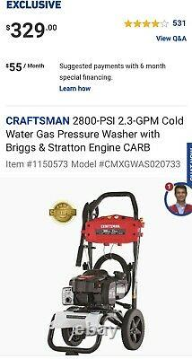 CRAFTSMAN 2800-PSI 2.3-GPM Cold Water Gas Pressure Washer with Briggs & Stratton