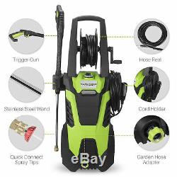Electric Pressure Washer withHose Reel Kit and 5 Quick-Connect spray tips, 3000PSI