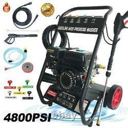 Gas Pressure Washer 4800PSI 7HP Gas 196cc W. Power Spray Gun 4-Stroke 5 Nozzles
