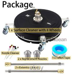 Pressure Surface Cleaner 20 4000PSI 4 Wheels 2 Extra Nozzles & 2 Extension Wand