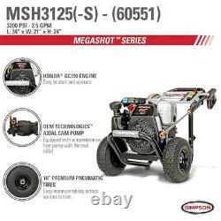 Simpson MegaShot 3,100 PSI 2.5 GPM Gas Pressure Washer Powered by Honda, 60551