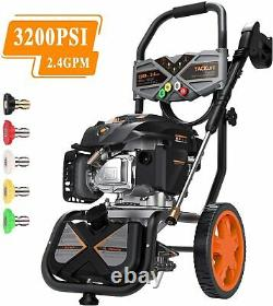 TACKLIFE Gas Pressure Washer 3200PSI at 2.4GPM 6.5 Peak HP, 5 Nozzles, 25FT Hose