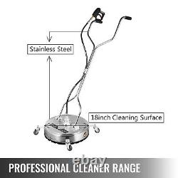 VEVOR 18 Flat Surface Cleaner 4000PSI Stainless Steel Pressure Washer With Wheels