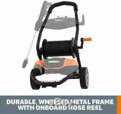 WORX WG604 1600 Max PSI 13A Pressure Washer with Rolling Cart, Black and Orange